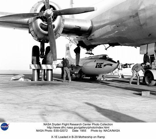 X-1E supersonic aircraft under B-29 Mothership