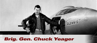 Brigadier General Charles Chuck Yeager next to his X-1 aircraft