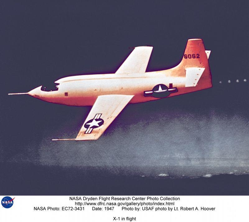 Supersonic aircraft X-1 in flight