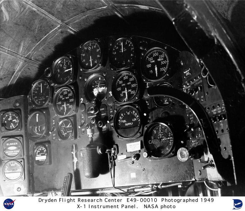 X-1 supersonic aircraft instrument panel