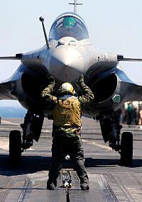 French Navy's Rafale multirole fighter aircraft on deck with shooter
