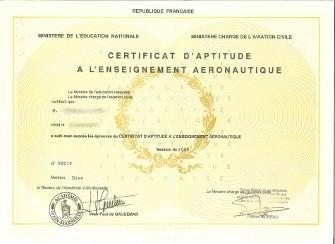 Diplome CAEA Certificat d'Aptitude à l'Enseignement Aeronautique