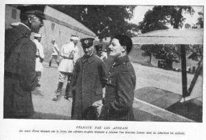 French ace Maxime Lenoir congratulated by British officers