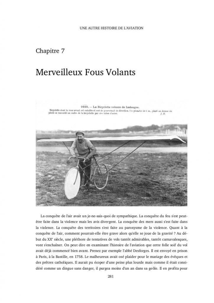 Livre Une autre histoire de l'aviation merveilleux fous volants Ladougne et sa bicyclette volante