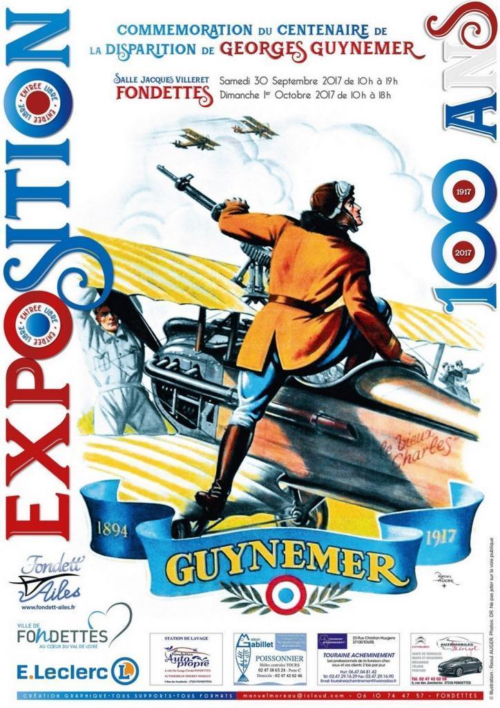 Affiche de l'association Fondett'Ailes pour les 100 ans de la disparition du capitaine Georges Guynemer