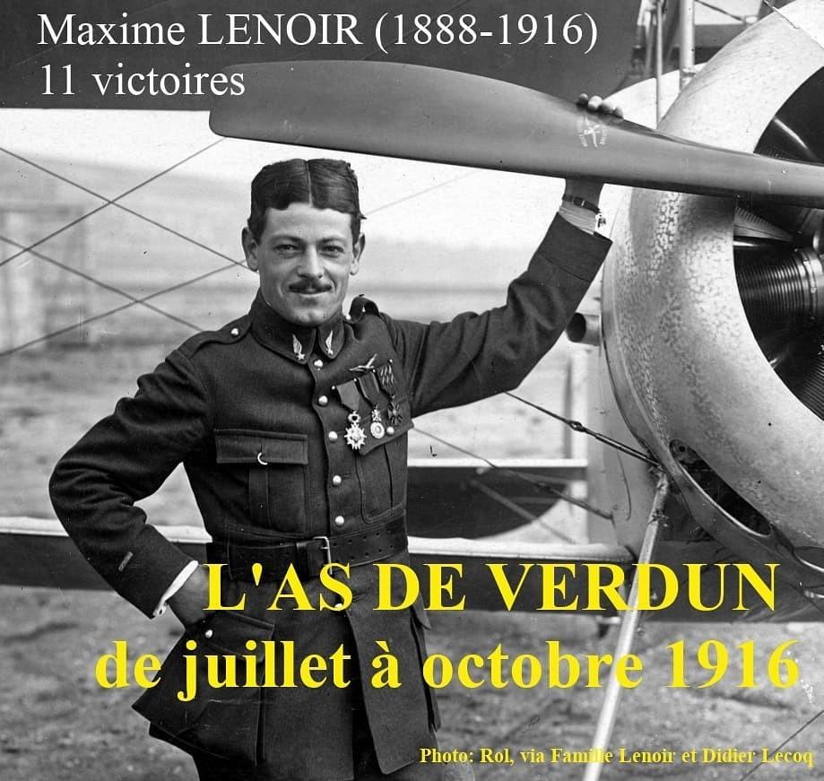 Maxime LENOIR posant devant son aéroplane Nieuport. As de Verdun, aviateur, héros,