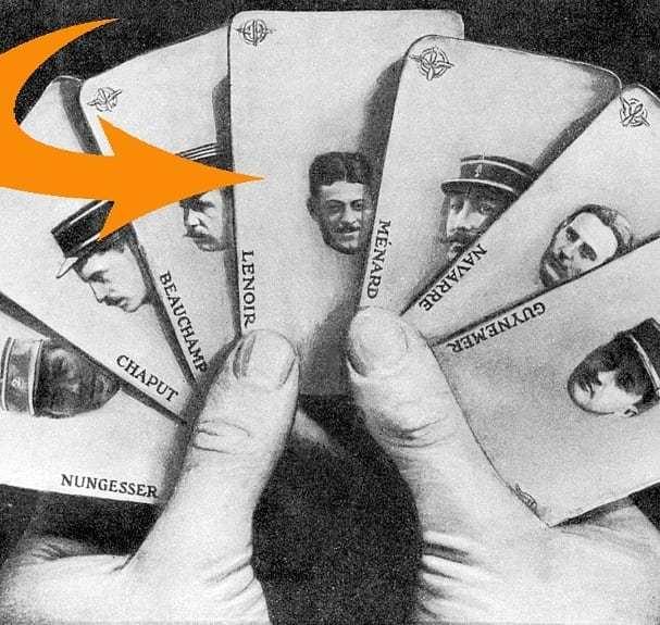 Cartes à jouer sur les as de la grande guerre avec Nungesser, Chaput, Beauchamp, Maxime Lenoir, Ménard, Navarre, Georges Guynemer, guerre 14-18 aviation