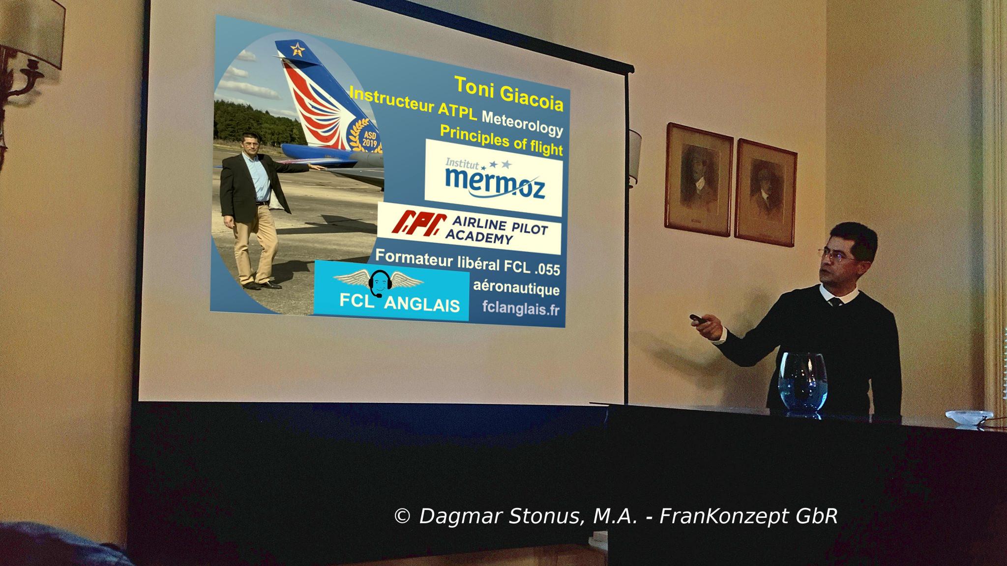 Toni Giacoia conference Aeroclub de France Gustav Weisskopf Gustave Whitehead Dagmar Stonus Frankonzept GbR Institut Mermoz APA Training FCL Anglais